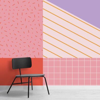 Carta da Parati Colorata a Toni Rosati e Geometrie in Stile Memphis Image