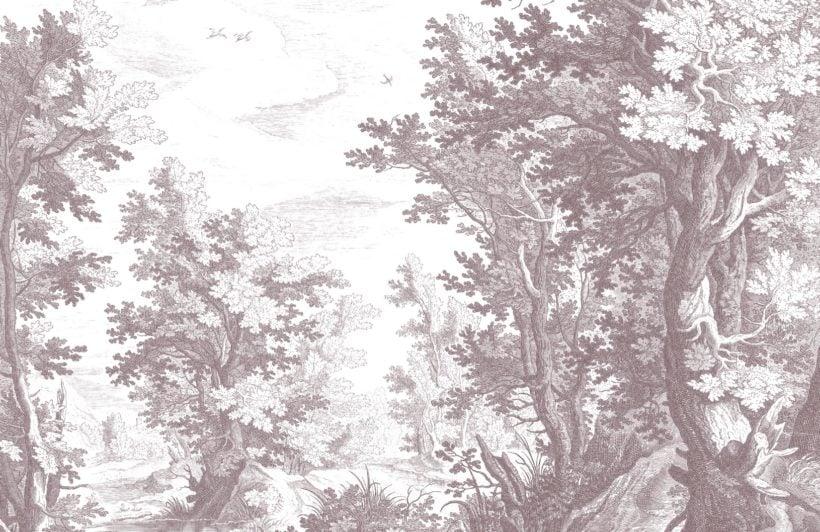 minimal grey forest illustration etching wallpaper mural