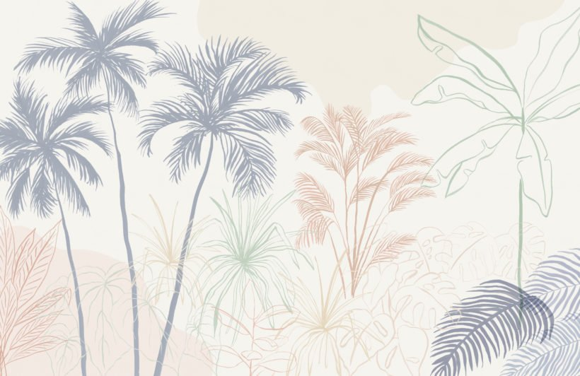 minimalist pastel inky tropical wallpaper mural