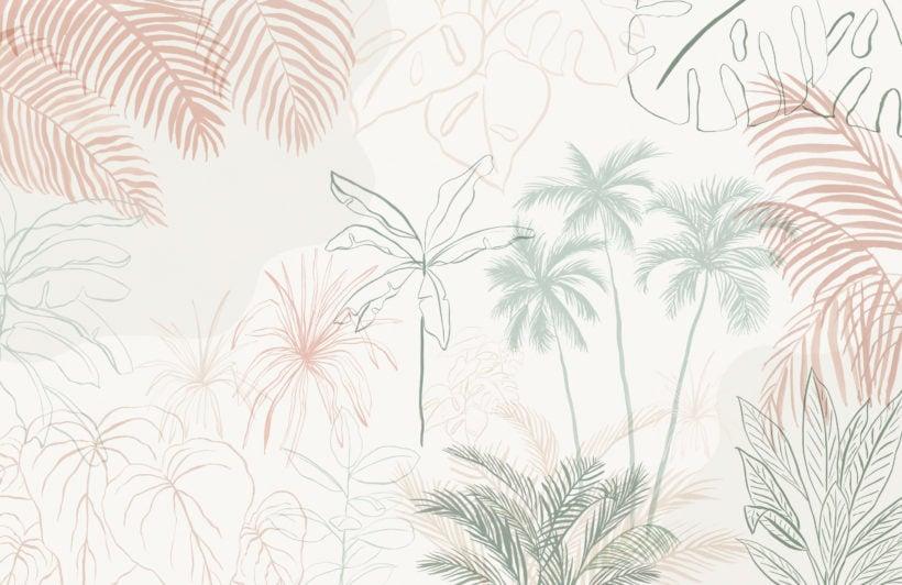 minimalist pink & green inky tropical wallpaper mural