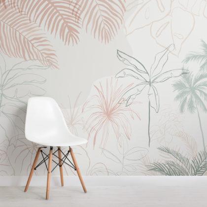 Minimalist Pink & Green Inky Tropical Wallpaper Mural Image