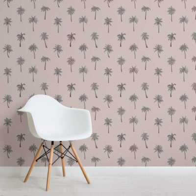 minimalist pink palm tree repeat pattern wallpaper