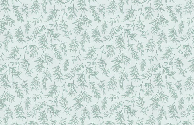 mint green ancient greek olive branch pattern wallpaper mural