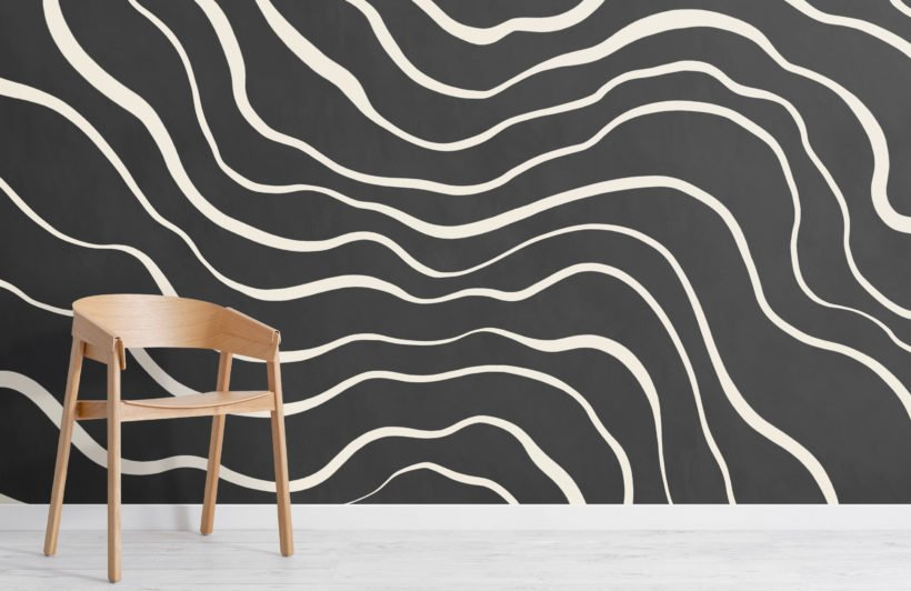 modern black and white natural lines wallpaper mural