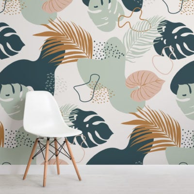 modern green & neutral tropical leaf collage pattern wallpaper mural