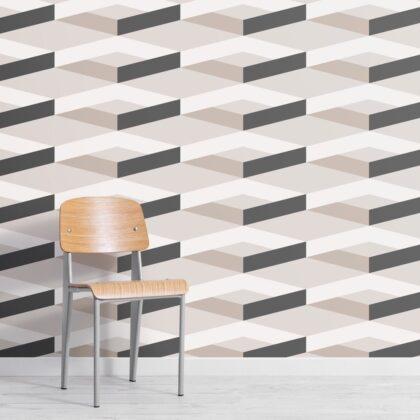 Modern Minimal 3D Effect Repeat Pattern Wallpaper Image