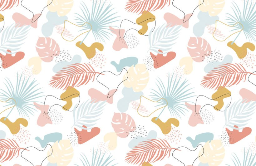 modern pastel tropical leaf collage pattern wallpaper mural