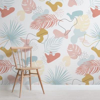 modern pastel tropical leaf collage pattern wallpaper mural