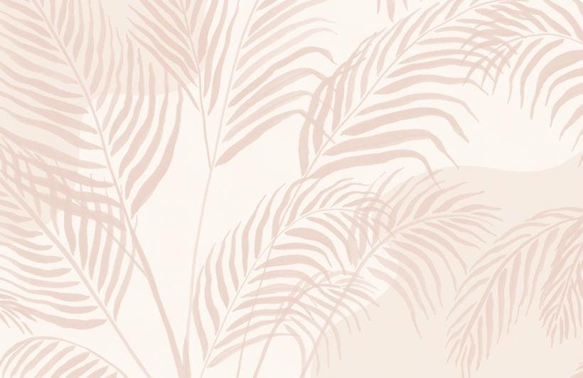 modern pink palm leaf inky tropical wallpaper mural