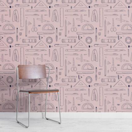 Modern Pink Stationery Repeat Pattern Wallpaper Image