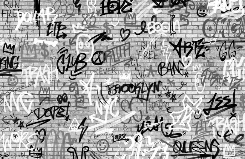 monochrome nyc graffiti brick wall wallpaper mural