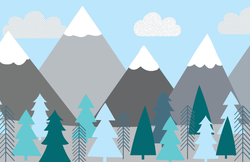 kids-mountains-and-trees-plain-wall-mural