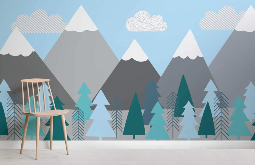 kids-mountains-and-trees-room-wall-mural