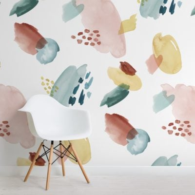 multi-colored abstract watercolor brush strokes pattern wallpaper mural