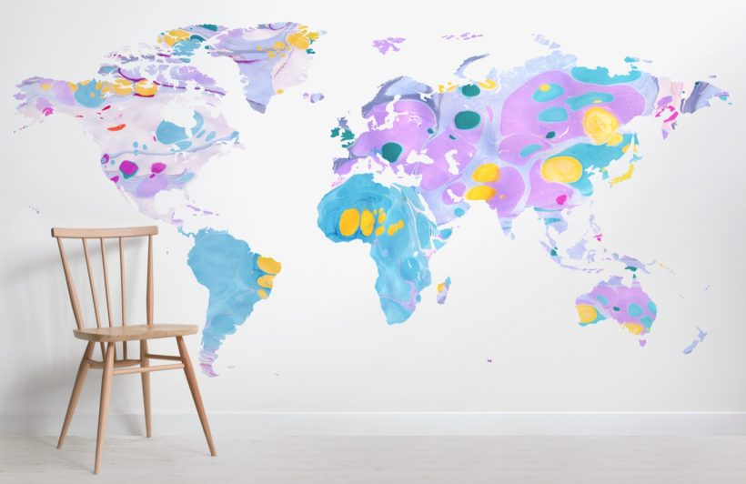 multi colored marble world map wallpaper mural