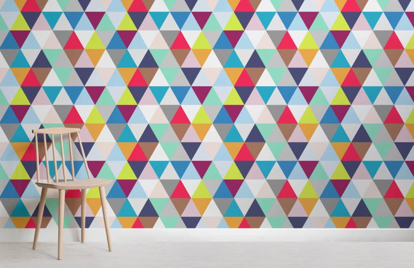 multicoloured-triangles-room-wall-murals