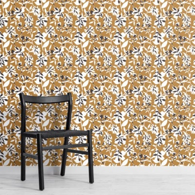mustard yellow floral repeat pattern wallpaper