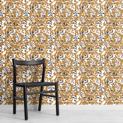Mustard Yellow Floral Repeat Pattern Wallpaper Image