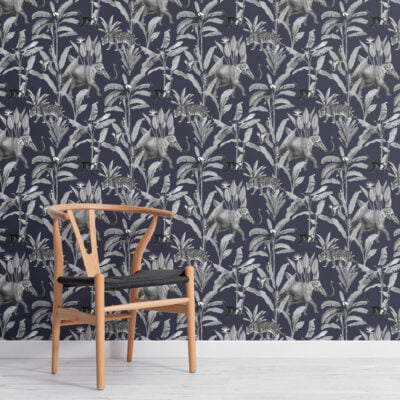 navy and grey illustrated jungle animal repeat pattern wallpaper