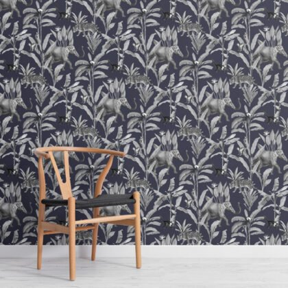Navy and Gray Illustrated Jungle Animal Repeat Pattern Wallpaper Image