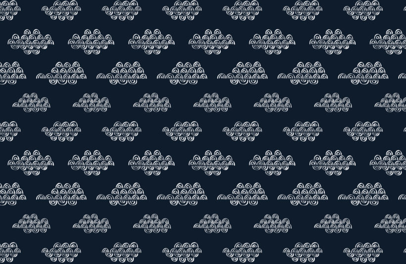 navy blue japanese clouds repeat pattern wallpaper