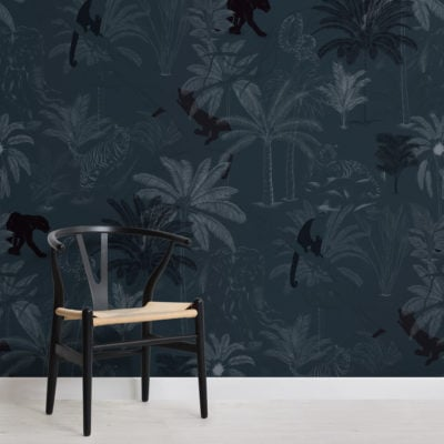 navy sophisticated jungle animals pattern wallpaper mural