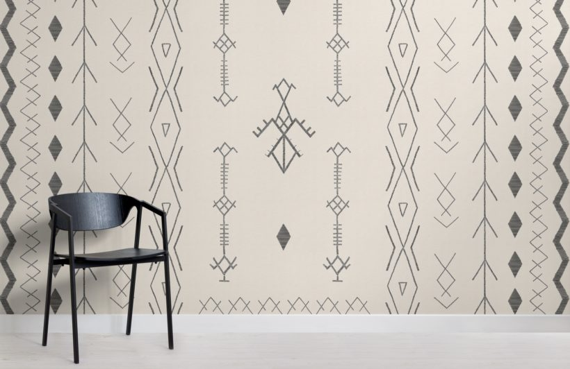 neutral african style tribal wallpaper mural