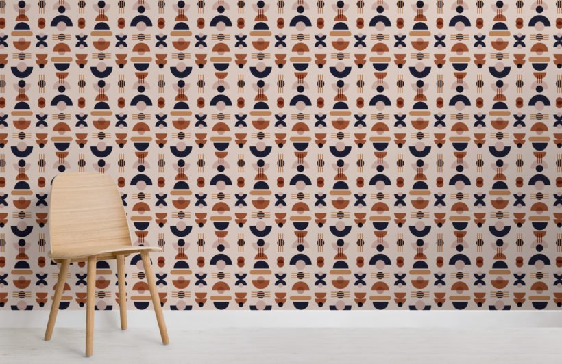 neutral-and-navy-mid-century-modern-geometric-pattern-wallpaper-mural