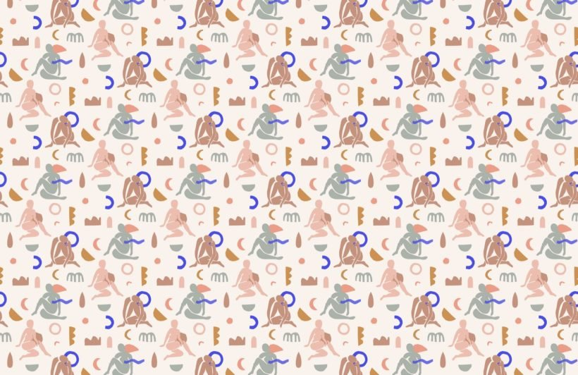 neutral-and-pastel-pink-abstract-shapes-pattern-wallpaper-mural-Plain