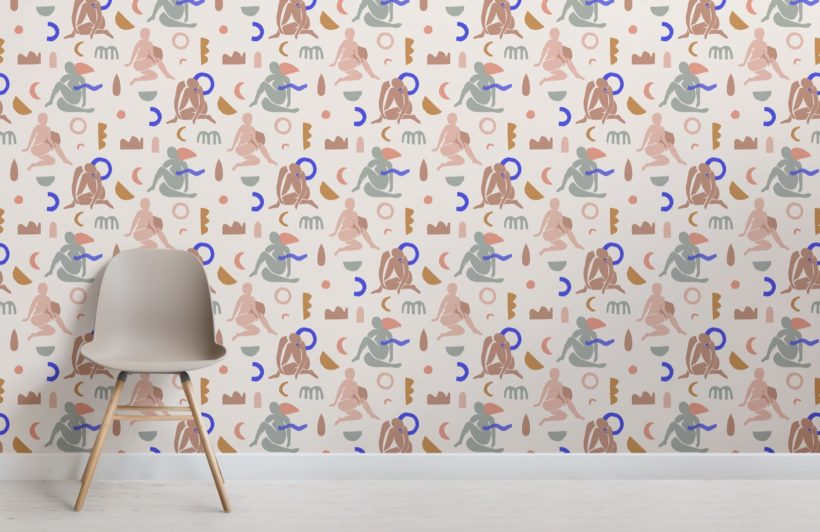 neutral-and-pastel-pink-abstract-shapes-pattern-wallpaper-mural-Room