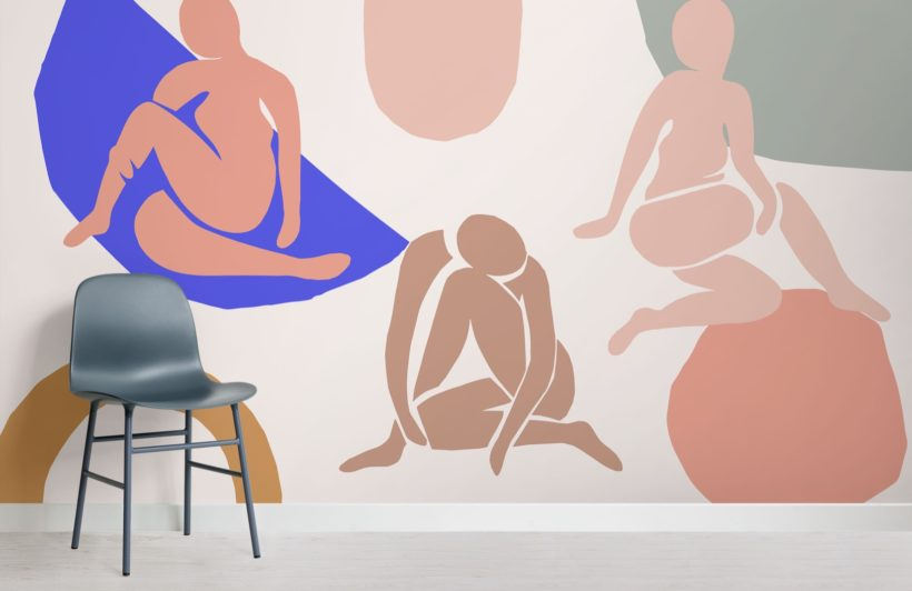 neutral-and-pastel-pink-shapes-abstract-wallpaper-mural-Room
