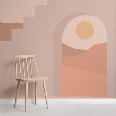 neutral architecture & desert landscape wallpaper mural