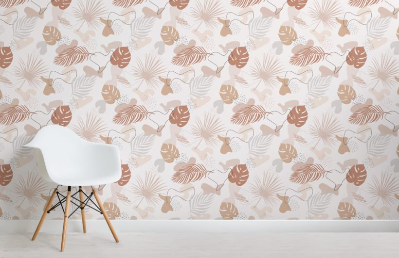 neutral colours tropical leaf collage pattern wallpaper mural