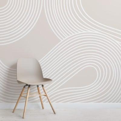 neutral curvy lines modern zen garden wallpaper mural