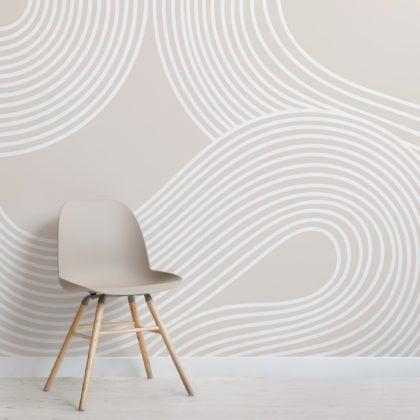 Neutral Curvy Lines Modern Zen Garden Wallpaper Mural Image