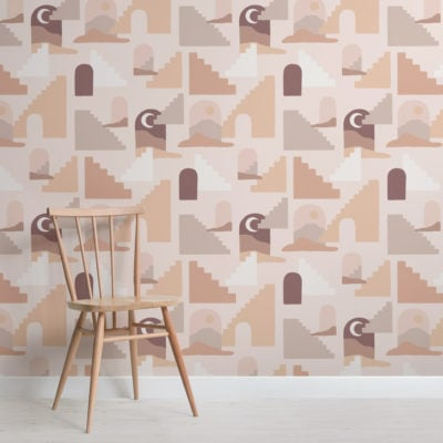 neutral desert architecture pattern wallpaper mural