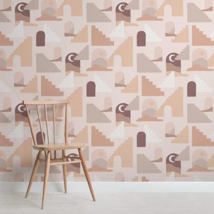 Neutral Desert Architecture Pattern Wallpaper Mural Image