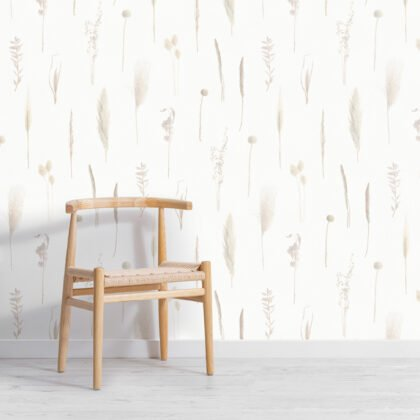 Neutral Dried Flowers Botanical Repeat Pattern Wallpaper Image