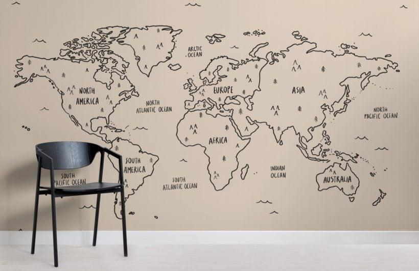 neutral illustrated scandi world map wallpaper mural