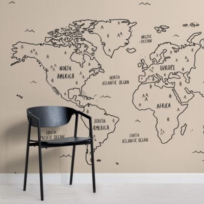 neutral illustrated scandi world map wallpaper mural