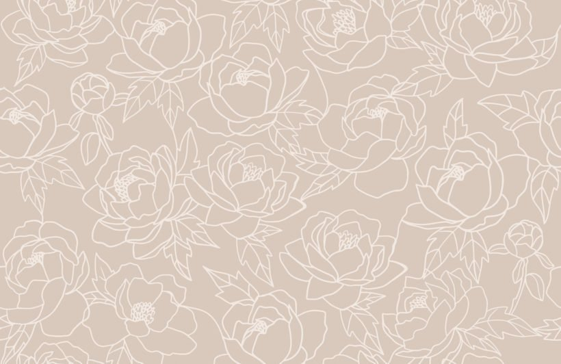 neutral line drawing floral pattern wallpaper mural