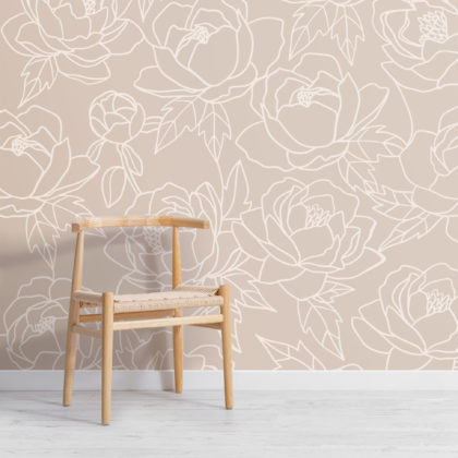 Neutral Line Drawing Floral Pattern Wallpaper Mural Image