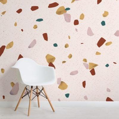neutral marble stone terrazzo print wallpaper mural