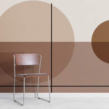 Neutral Mid Century Abstract Geometric Wallpaper Mural Image