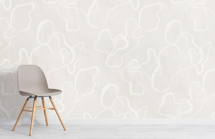 neutral modern abstract scribble drawing wallpaper mural