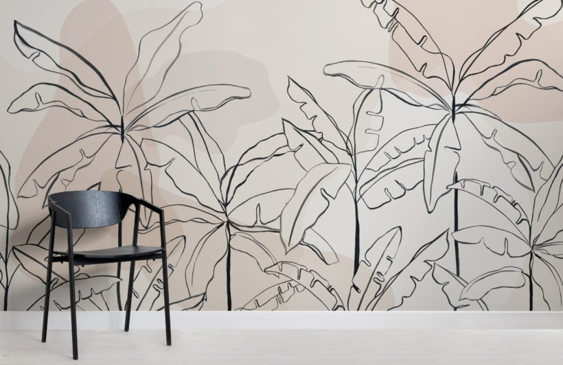neutral pink inky tropical wallpaper mural