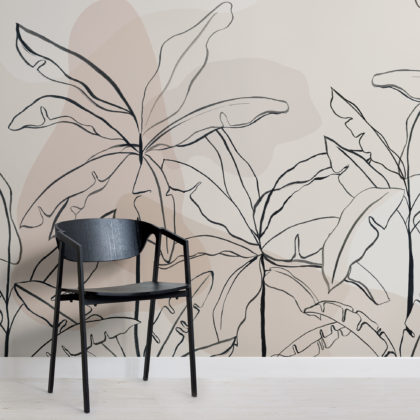 Neutral Pink Inky Tropical Wallpaper Mural Image