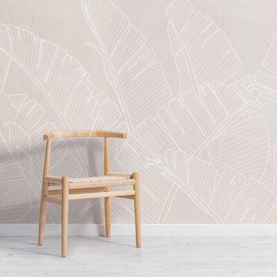 neutral pink large banana leaf wallpaper mural