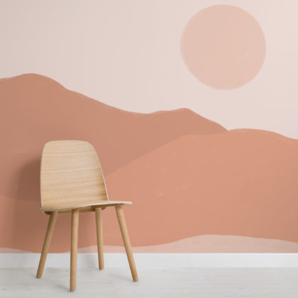 Earth Tone Painted Desert Landscape Wallpaper Mural Image