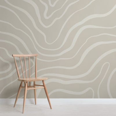 neutral tone modern abstract lines wallpaper mural